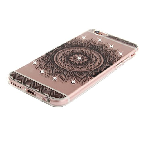 iPhone 6S Plus Schutzhülle, Rosa Schleife iPhone 6 Plus Crystal Case Handyhülle Ultra Dünn TPU Silikon Backcover Durchsichtig Gel Case Diamond Bling Schutzhülle klar für iPhone 6S Plus/6 Plus mit Mand a - Schwarz Mandala