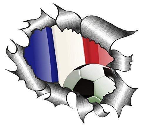 Zerrissenes Metall Frankreich französisch Fußball team Fan Flagge Fußball Tournament Vinyl Autoaufkleber 105x130mm ca. -