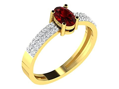 Libertini Women's 92 Kt Yellow Color Silver Oval Shaped 0.16 Ct Round Cut Diamond And 0.8 Ct Dark Ruby Ring Size:
