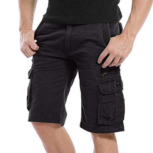 Yidarton Cargo Shorts Herren Kurze Hosen Outdoor Casual Cargo Bermudas Sommer Unifarben/Camouflage (ohne Gürtel) (Style1-Schwarz, XL) - Herren-casual-hose