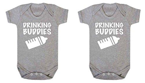 Drinking Buddies–Baby Funny Gemelos chaleco Body Body y gorro para bebé (2unidades), color gris gris Talla:3-6 meses