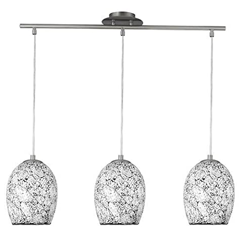 Searchlight 8069-3WH Crackle Satin Chrome 3 Lamp Bar Pendant Light with White Mosaic Dome Shades