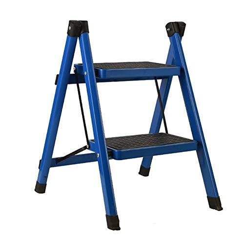 TH Klappstufen Treppenhaus Hocker Eisen Haushaltsleiter, Indoor Rutschfeste 2-Stufen-Leiter Tragbarer Klappschritt-Hocker 51 × 40 × 44 cm - blau