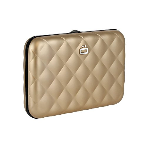 Ogon- Quilted Button Rose Gold Card holder metal lock quilted Aluminium