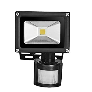 Himanjie 10W LED Motion Sensor Outdoor Floodlight, Warm White(2800-3500K), PIR Landscape Lights, Waterproof IP65, AC 85-265V Security Lights, for Gardens, Yards, Basements, Rooftops, Warehouses, Billboards by Himanje