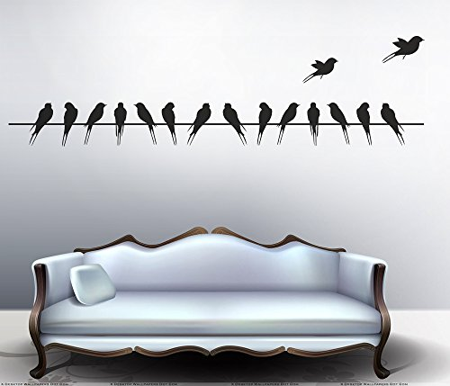 Decals Design 'Beautiful Long Tail Birds on Wire' Wall Sticker (PVC Vinyl,...