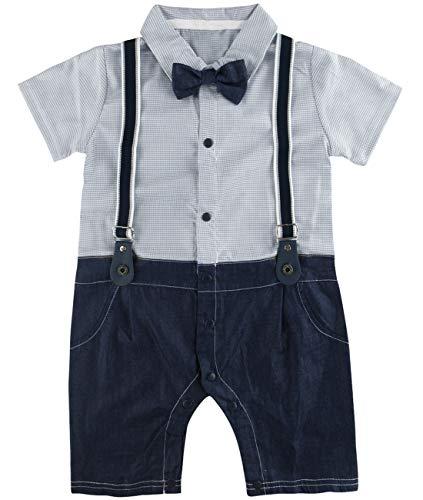 A&J DESIGN Säugling Gentleman Bodysuit Karierte Hemden Denim Jeans Anzug (Grau, 12-18 Monate)