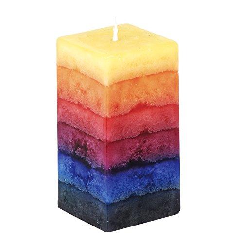 Kerze in Quaderform - Regenbogen