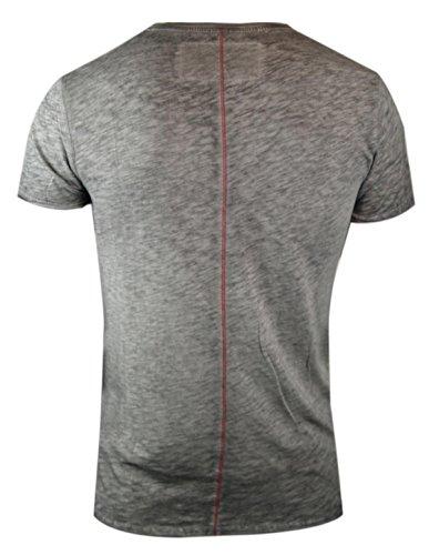 trueprodigy casuale uomo maglietta motivo stampa, abbigliamento urban moda collo V (manica corta & slim fit classic), t-shirt moda vestiti colore: grigio 1062109-0403 Anthracite