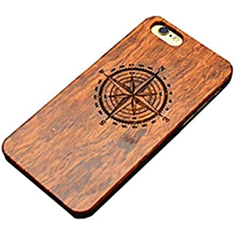 PTitanMantisP custodia Incisione laser della combinazione di bussola di legno e plastica dura (iPhone 6S Plus iPhone 6S iPhone 6 Plus iPhone 6 iPhone SE iPhone 5/5S )(iPhone 5/5S,Marrone)