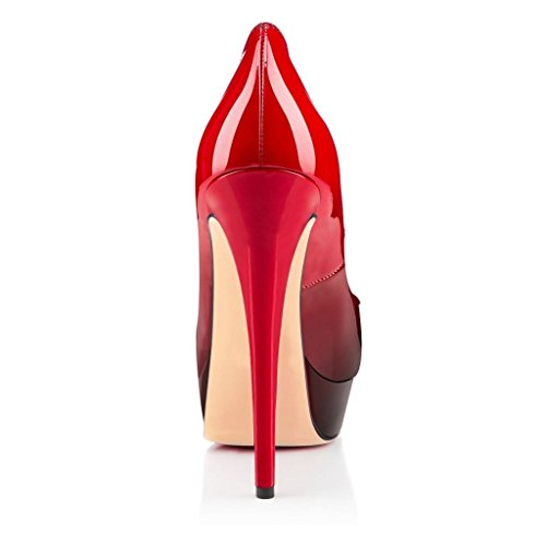 EKS Damen Stilett Peep Toe Gradient Kleid-Partei Pumps Rot-Schwarz