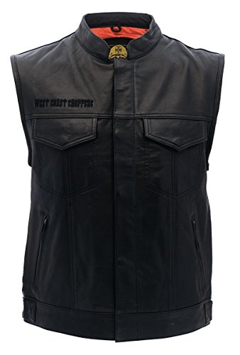 West Coast Choppers OG Cross Leather Riding Vest, Color:black;Größe:M