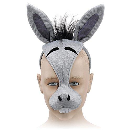 Bristol Novelty EM179Esel-Maske mit Ton auf dem Haarreif, mehrfarbig, ()