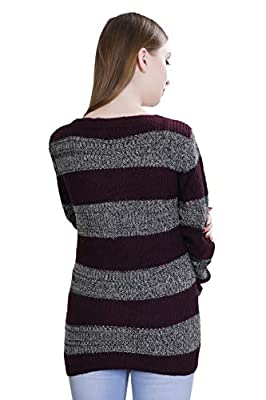 OLETA- Women's Acrylic Striped Sweater/Pullover with Round Neck