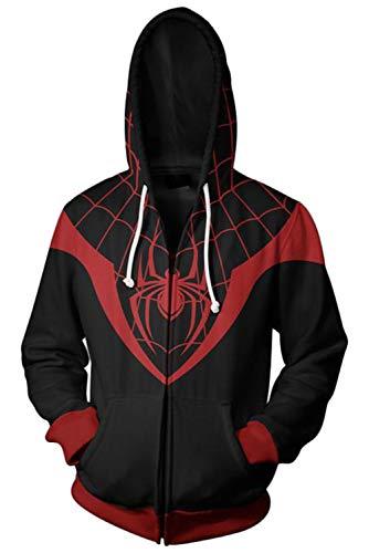 RedJade Herren Damen Kapuzenjacke Pullover mit Kapuze Sweatjacke Hoodie Schwarz The Ultimates : Ultimate Ultimate Spider-Man Animated Series Miles Morales (Miles Kostüm Morales Spiderman)