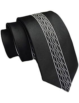 Cloud Rack 6Cm Poliestere Broccato Tessere Stretta Cravatta (Nero Bianco) Di Seta Elegante