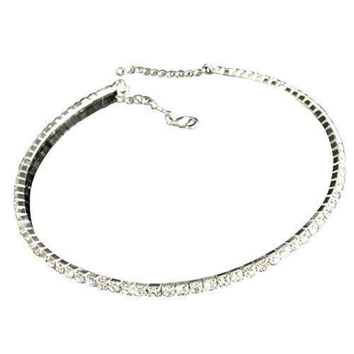 Live It Style It Crystal Diamond Rhinestone Necklace Choker Silver Wedding Party Chain Bridal Nf44qo