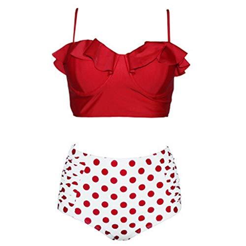 f9129135d0b9 Yvelands Damen Bikini Set Zwei Stücke Badeanzüge Top Mit Hoher Taille Unten  Gekräuselt(rot,