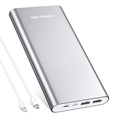 POWERADD 20000mAh Powerbank, Externer Akku mit Micro USB und Iightning Anschluss, Power Bank mit 2 Output Hany Ladegerät für iPhone, Samsung Galaxy, Huawei, weitere Smartphones