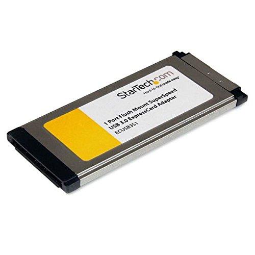StarTech. com Adapter Karte ExpressCard/341Port mit Montageset-Flush Mount Zubehör (ExpressCard mit UASP SuperSpeed USB 3.0, USB 3.0, schwarz, Silber, 0-50°C,-40-85°C, 5-95%) -