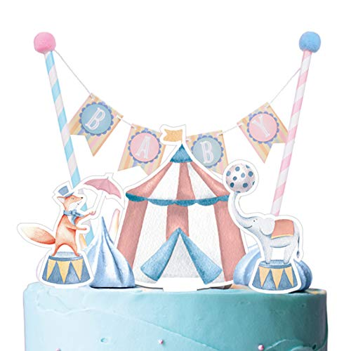 ation Set Zirkus Kuchen Girlande Babyshower Taufe Dekor Tier Geburtstag (Kuchendeko) ()