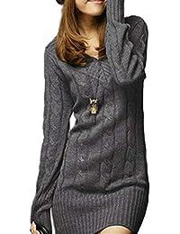 475f5bd169ff Vestiti in Maglia Donna Eleganti Vintage Autunno Invernali Abbigliamento  Maglioni Lunghi Manica Lunga Tempo Libero Slim