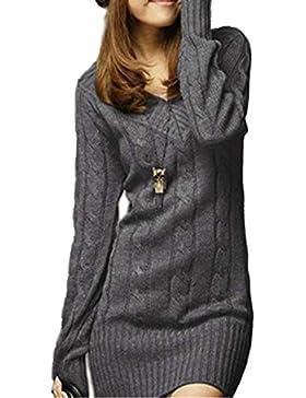Vestido De Punto Mujer Elegantes Vintage Otoño Invierno Jersey Largo Manga Larga V Cuello Slim Fit Basic Casuales...