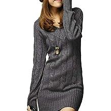 Vestiti in Maglia Donna Eleganti Vintage Autunno Invernali Abbigliamento  Maglioni Lunghi Manica Lunga Tempo Libero Slim 35ea023c587