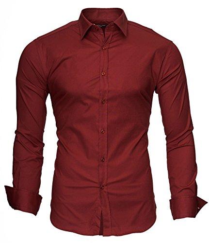 KAYHAN Langarmhemd Slim Fit 20 Farben zur Auswahl S-XL Rotwein