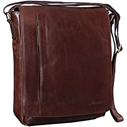 STILORD 'Paul' Bolso de Mensajero de Cuero Vintage para Hombre Bolsa Bandolera o de Hombro para Tablet o portátil de 13,3 Pulgadas de auténtica Piel, Color:Chocolate - marrón
