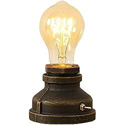 INJUICY luminaire Industriel Rétro Edison Lampe de Table E27 Douille en Métal Antique Lampe de Nuit Ambiance Décorative pour Restaurant Café Bars Atelier Salon Chambre(#A)