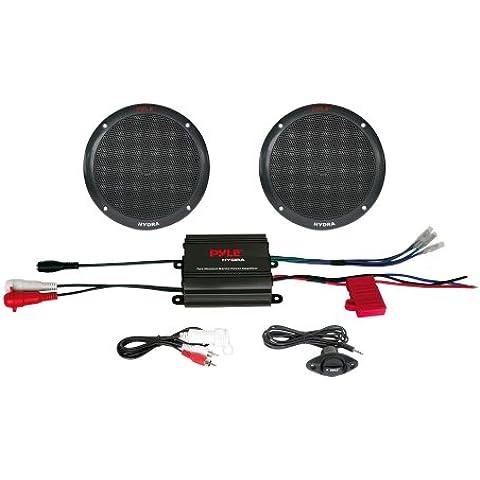 Pyle PLMRKT2B - Amplificador de 2 canales y par de altavoces con mando con cables, color negro