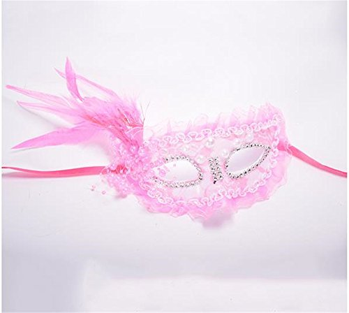 skerade Geburtstagsparty Prinzessin Spitze Feder-Masken (Rosa) (Feder Maskerade Maske)