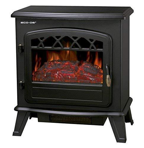 ECO-DE Chimenea eléctrica, Calefactor de 1800 W con termostato Ajustable, con leña...