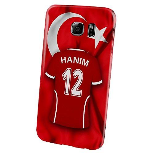 PhotoFancy – Samsung Galaxy S6 Handyhülle Premium – Personalisierte Hülle mit Namen Hanim – Case mit Design Fußball-Trikot Türkei EM 2016