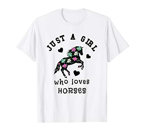 Just A Girl Who Loves Horses Women Horse  Riding T-Shirt Crazy Horse Riding Apparel