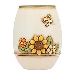 Idea Regalo - THUN - Vaso Fiori da Interno Grande - Bianco con Fiori Multicolore e Farfalla - Ceramica - Linea Country