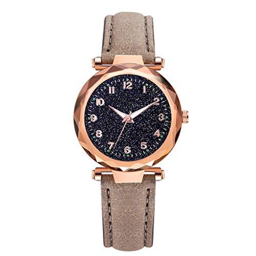 REALIKE Damen Armbanduhren Retro Prismatisch Konvex Lederband Nachthimmel Uhren Mehrfache Farben Freizeit Einfach Ultradünn Britische Artart und Weise Neue High End Geschäftsuhr Business