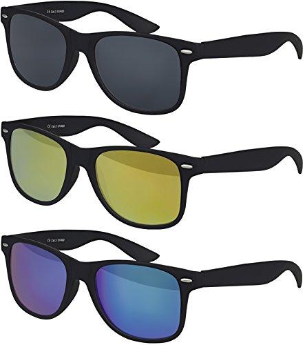 00 CAT 3 CE Vintage Unisex Retro Wayfarer Sonnenbrille - verschiedene Farben in Einzel - Doppelpack & Dreierpack wählbar (Dreierpack - Rahmen: Schwarz Matt, Gläser: 1 x Schwarz, 1 x Gelb verspiegelt, 1x Grün / Blau verspiegelt) (Gelbe Gläser)