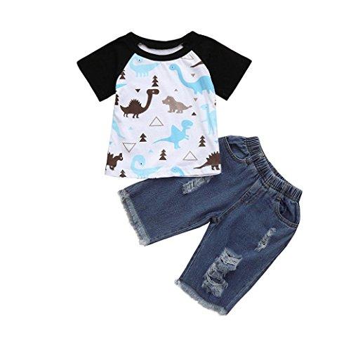 Transer Kleinkind Baby Mädchen Jungen Cartoon Dinosaurier Tops T-Shirt Denim Hosen Outfits Set (110, Black) Adorable Set Hose Shirt