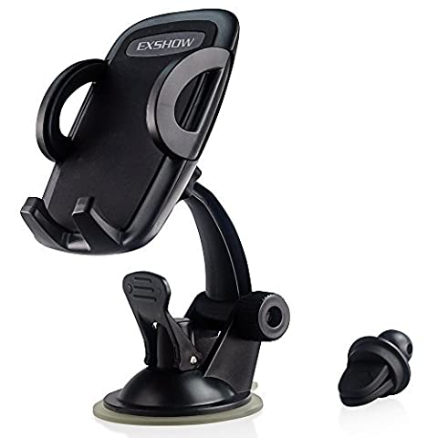 EXSHOW 3 in 1 Easy Touch Universal Windshield Dashboard Air Vent Car Phone Mount Holder for 3.5-6 inches Smart