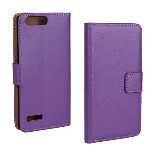 UKDANDANWEI Huawei Ascend P7 Mini Hülle - Book-Style Wallet Case Flip Cover Etui Tasche Case mit Standfunktion Für Huawei Ascend P7 Mini Porpora