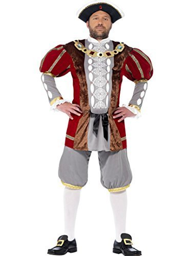 Kinder Viii Henry Kostüm - Men's Henry VIII Fancy Dress Costume Plus FREE Hat Size Large by Smiffy's