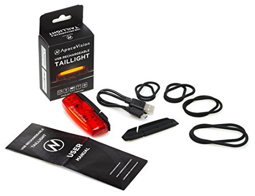 Apace Vision USB Rechargeable Bike Tail Light – Powerful LED Bicycle Rear Light – Super Bright and Easy Install Red Taillight for Optimum Cycling Safety