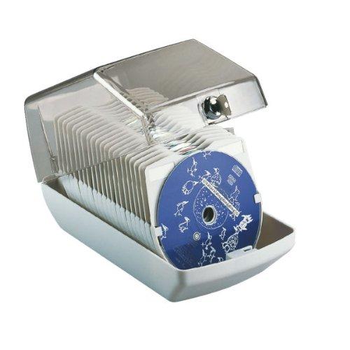 Preisvergleich Produktbild Leitz 90954 CD-Box für 40 CDs mit Schloss, hellgrau