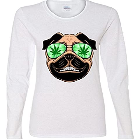 High Off Weed Smiling Pug Ladies Missy Fit long sleeve T-Shirt