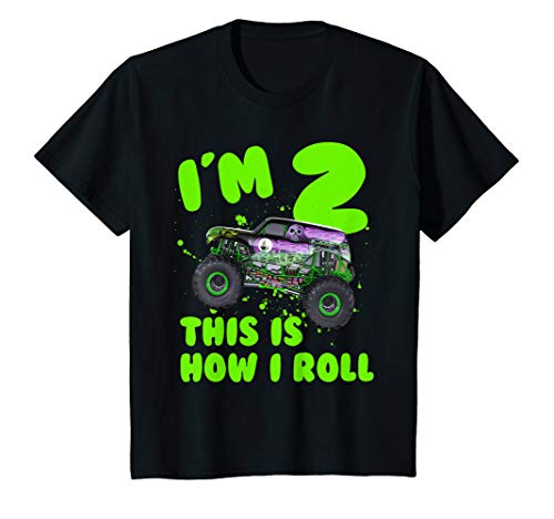 Kinder Monster Truck I'm 2 This Is How I Roll Toddler Birthday Gift T-Shirt