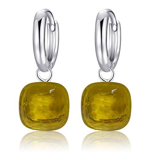 Topaz Ohrhänger Massiv 925 Sterling Silber Anhänger Ohrhänger für Frauen Gelegenheiten Schmuck (Gelb, Sterling Silber). ()