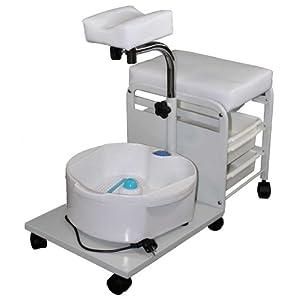 Rolbarer Fußpflegeschemel mit Sprudelbecken sowie höhenverstellbarer Stativfußauflage