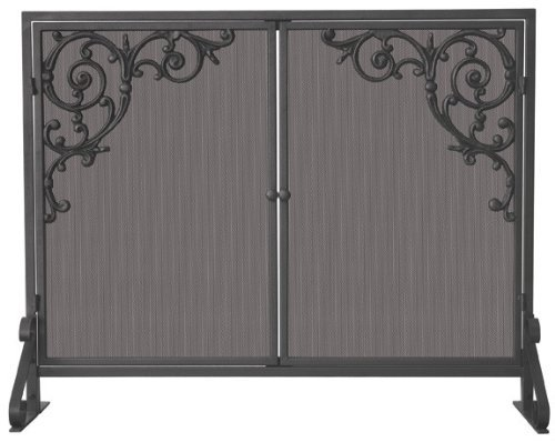 Panel-cast (Uniflame, S-1471, Single Panel Olde World Iron Finish Screen with Doors and Cast Scrolls by Uniflame)